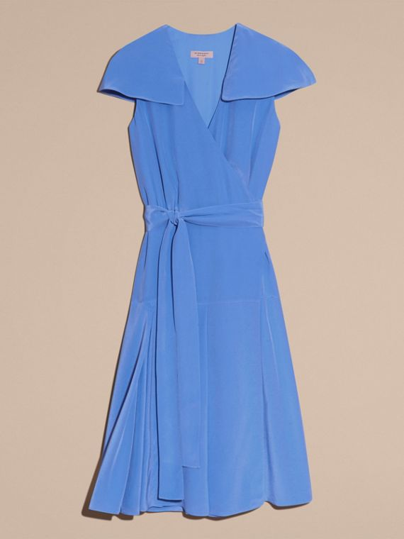 Cape Detail Silk Wrap Dress - cell image 3
