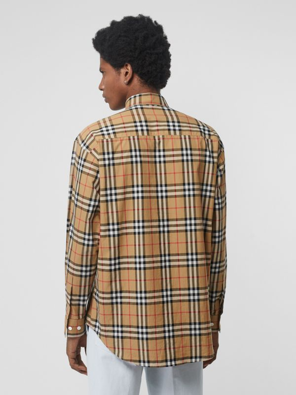 Button-down Collar Vintage Check Cotton Shirt in Antique Yellow - Men | Burberry Singapore - cell image 2