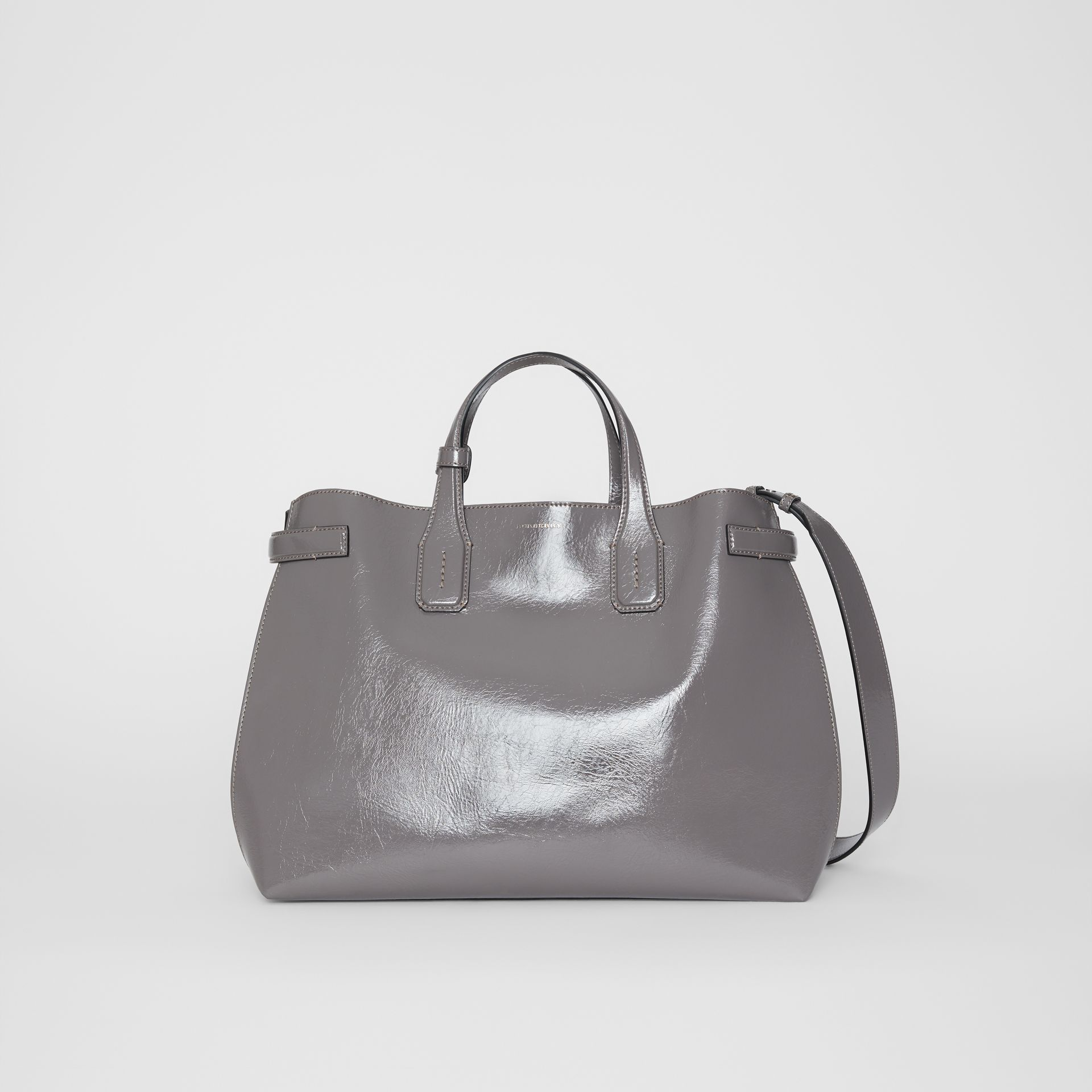 The Medium Soft Leather Banner in Sepia Grey - Women | Burberry - gallery image 0