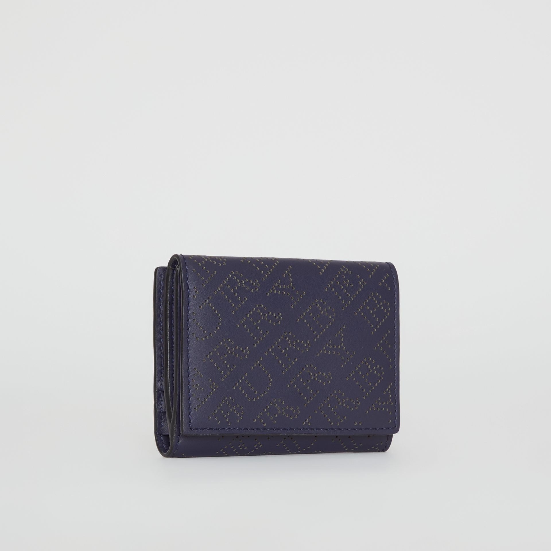 Small Perforated Logo Leather Wallet in Navy - Women | Burberry - gallery image 4