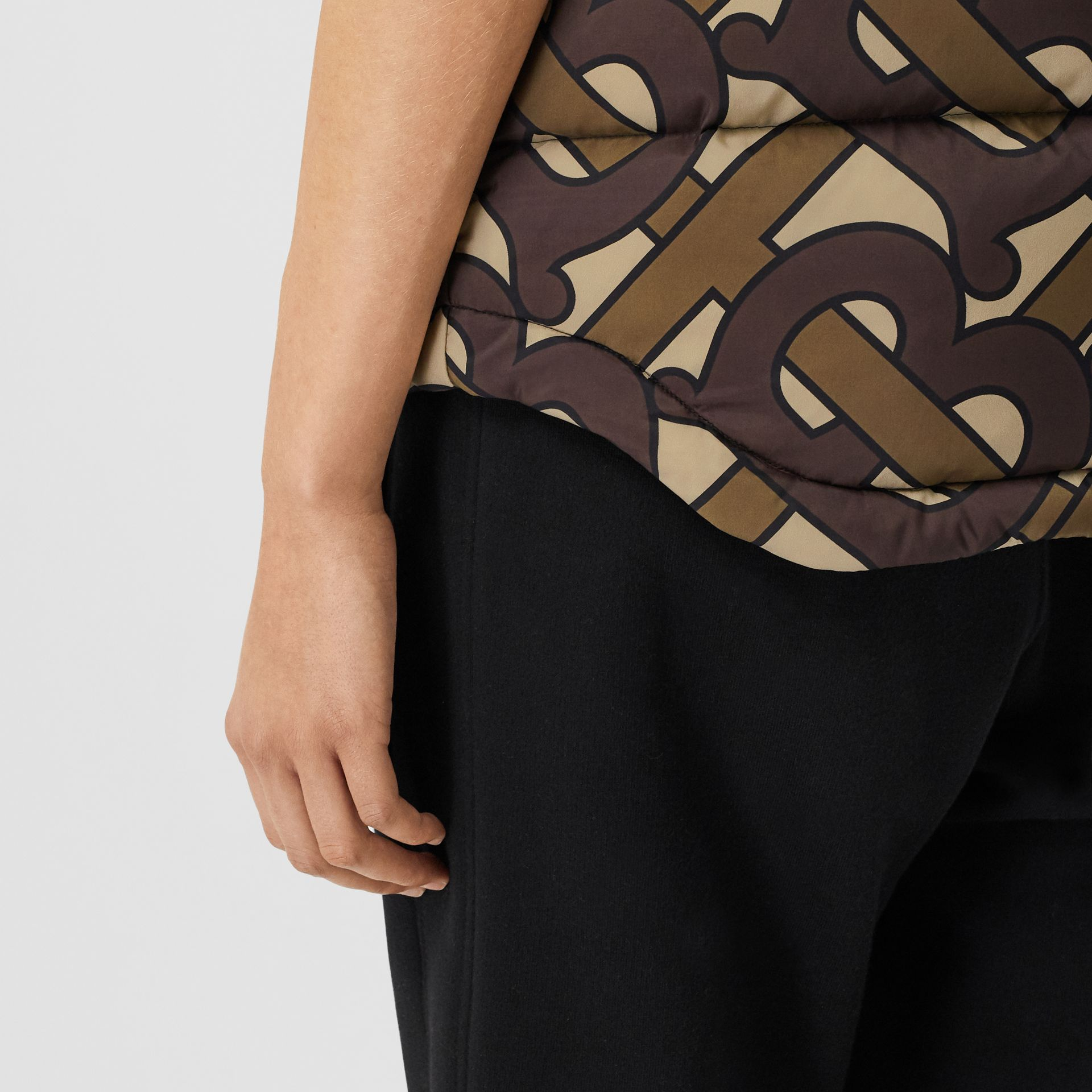 Monogram Print Puffer Gilet in Bridle Brown | Burberry United Kingdom - gallery image 4