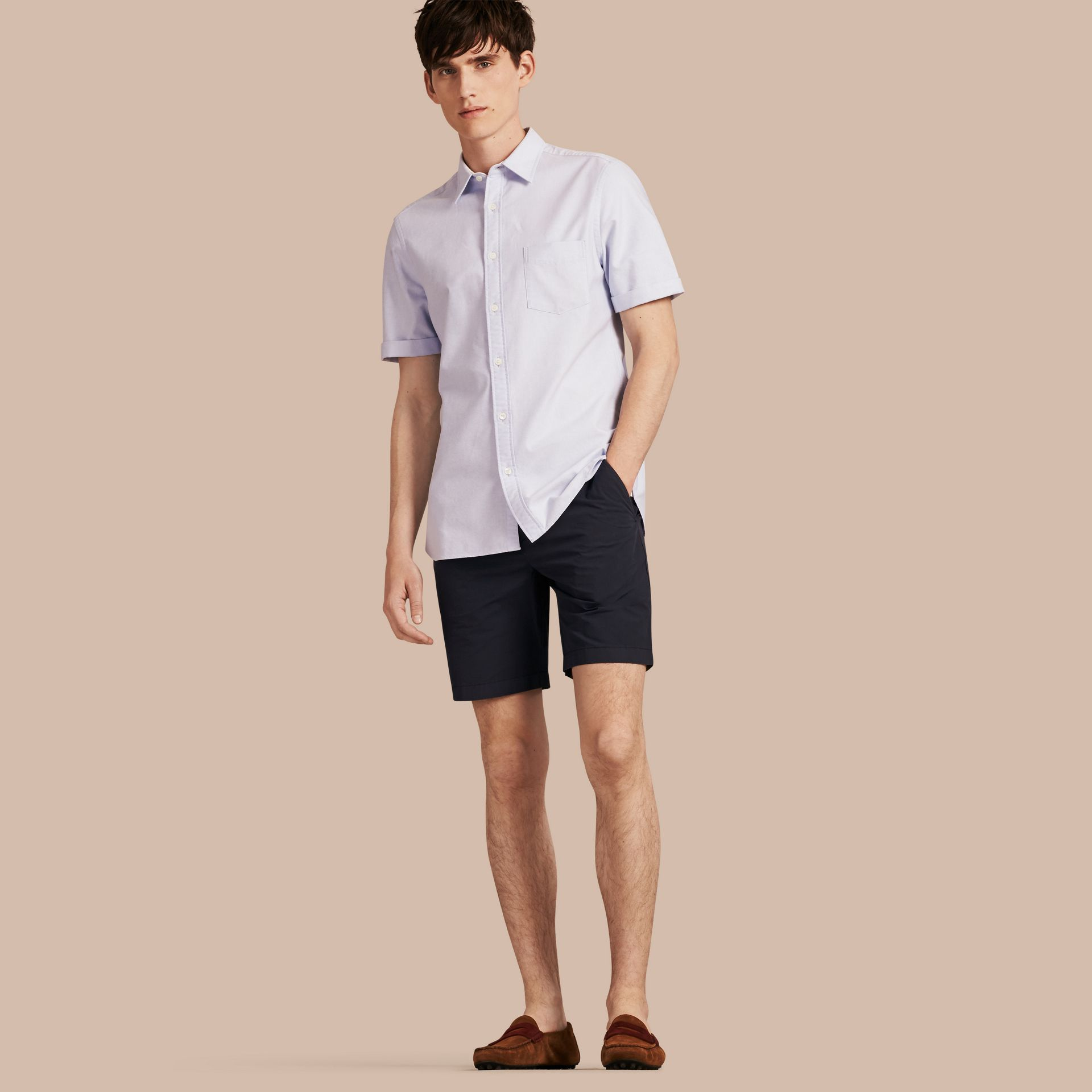 Indigo Cotton Poplin Chino Shorts Indigo - gallery image 1