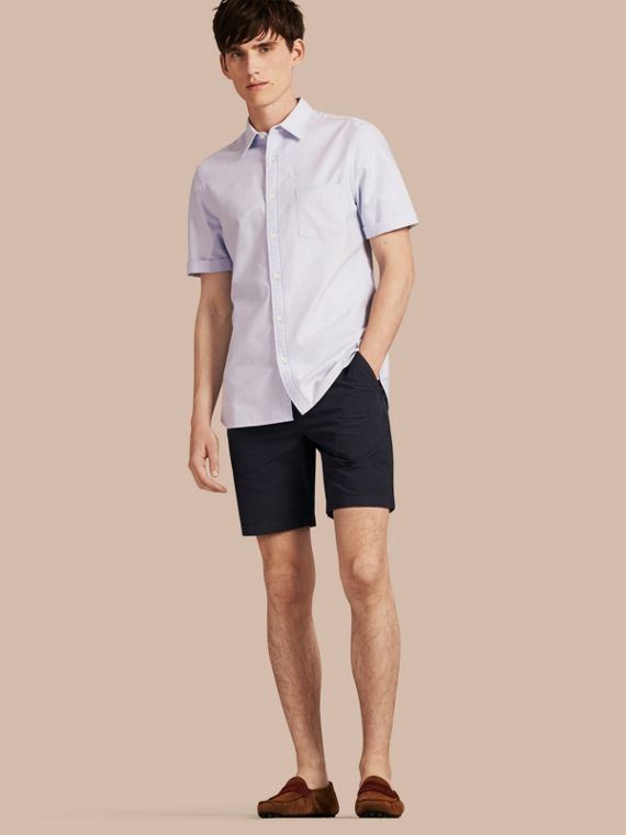 Cotton Poplin Chino Shorts in Indigo - Men | Burberry