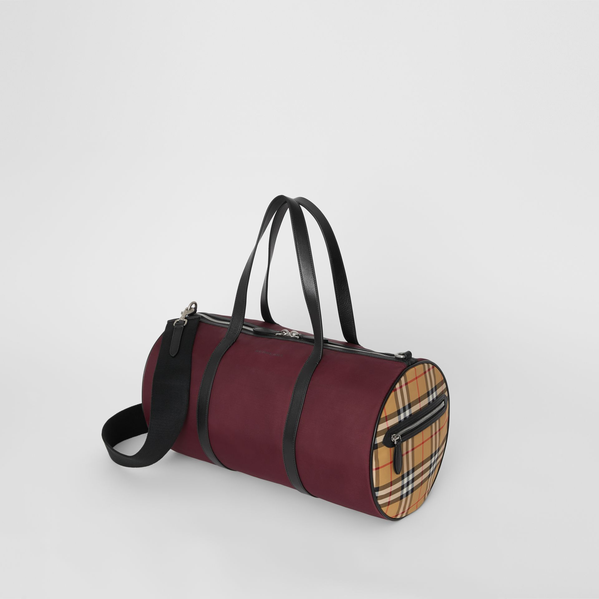 Medium Nylon and Vintage Check Barrel Bag in Oxblood - Men | Burberry - gallery image 3