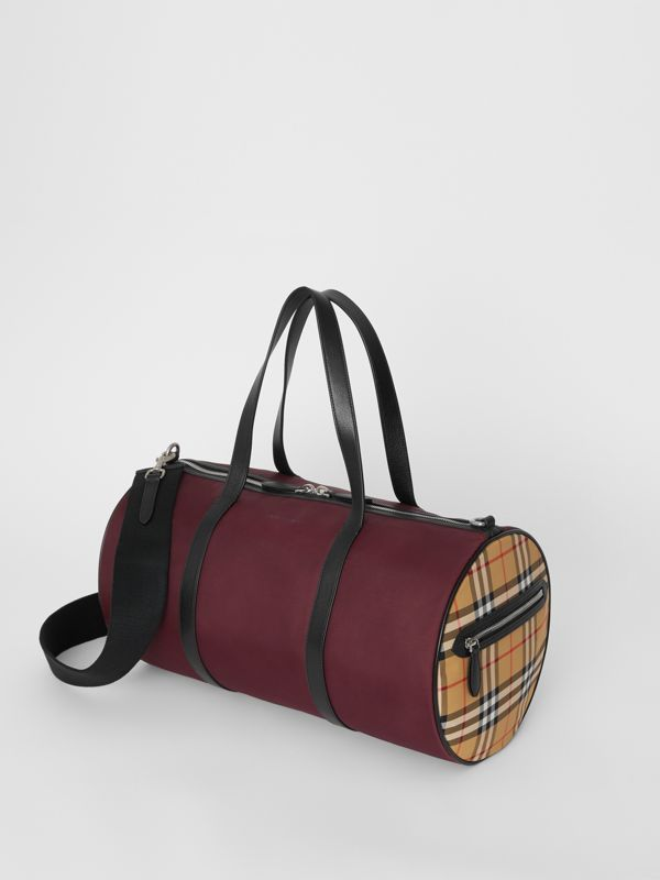 Medium Nylon and Vintage Check Barrel Bag in Oxblood - Men | Burberry - cell image 3