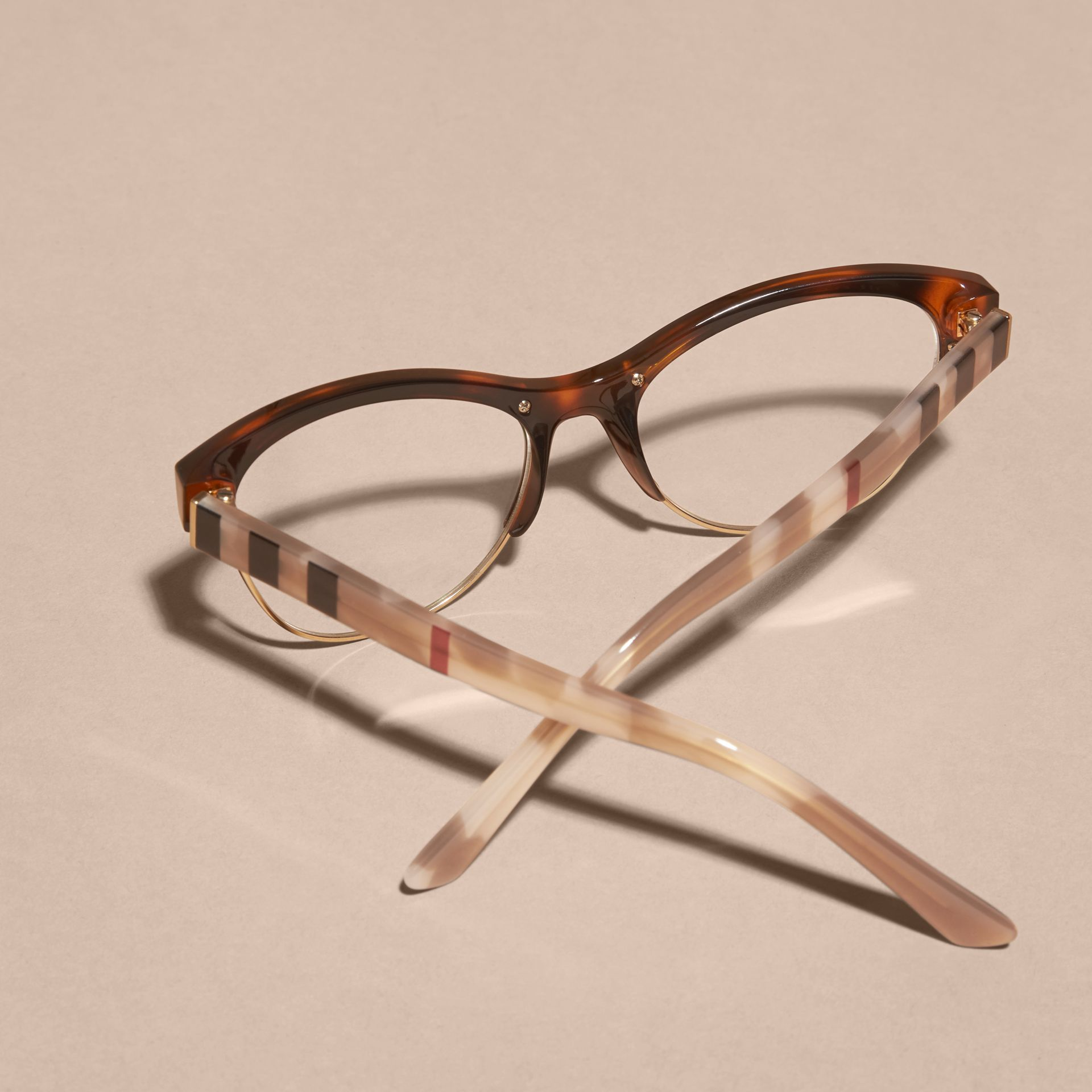 Half-rimmed Cat-eye Optical Frames Light Russet Brown - gallery image 4