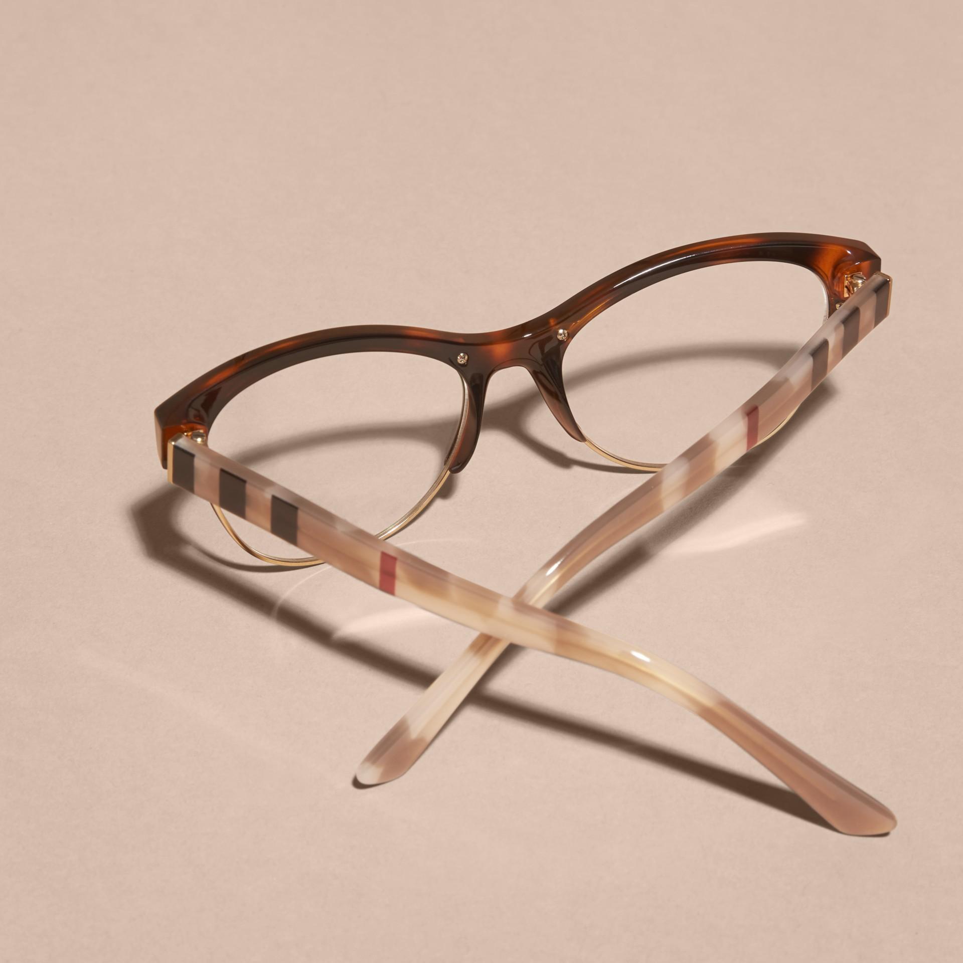Burberry Half Frame Glasses : Half-rimmed Cat-eye Optical Frames Light Russet Brown ...