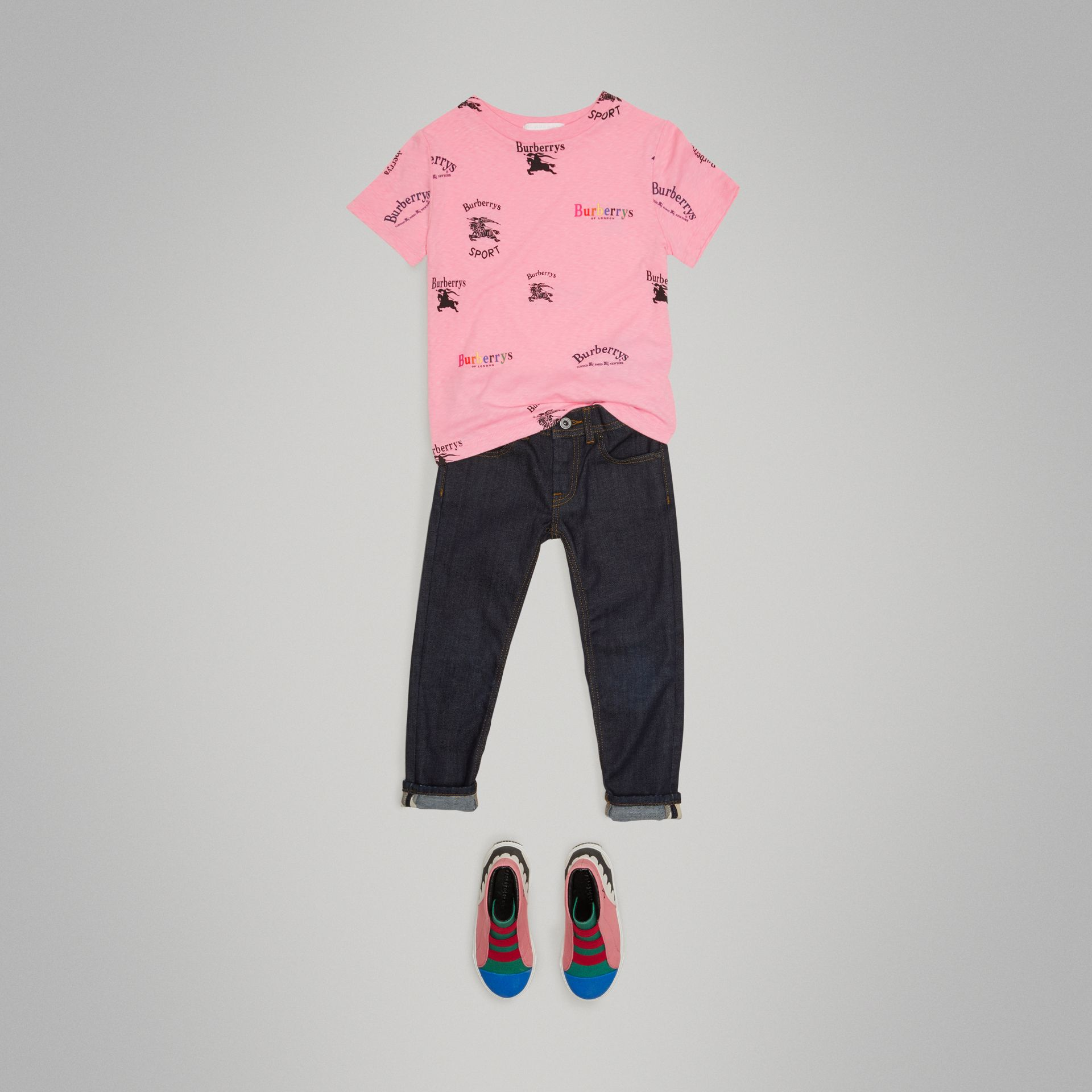 Archive Logo Print Jersey T-shirt in Neon Pink - Children | Burberry - gallery image 2