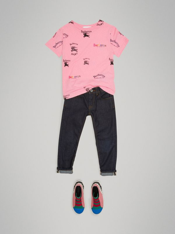 Archive Logo Print Jersey T-shirt in Neon Pink - Girl | Burberry - cell image 2