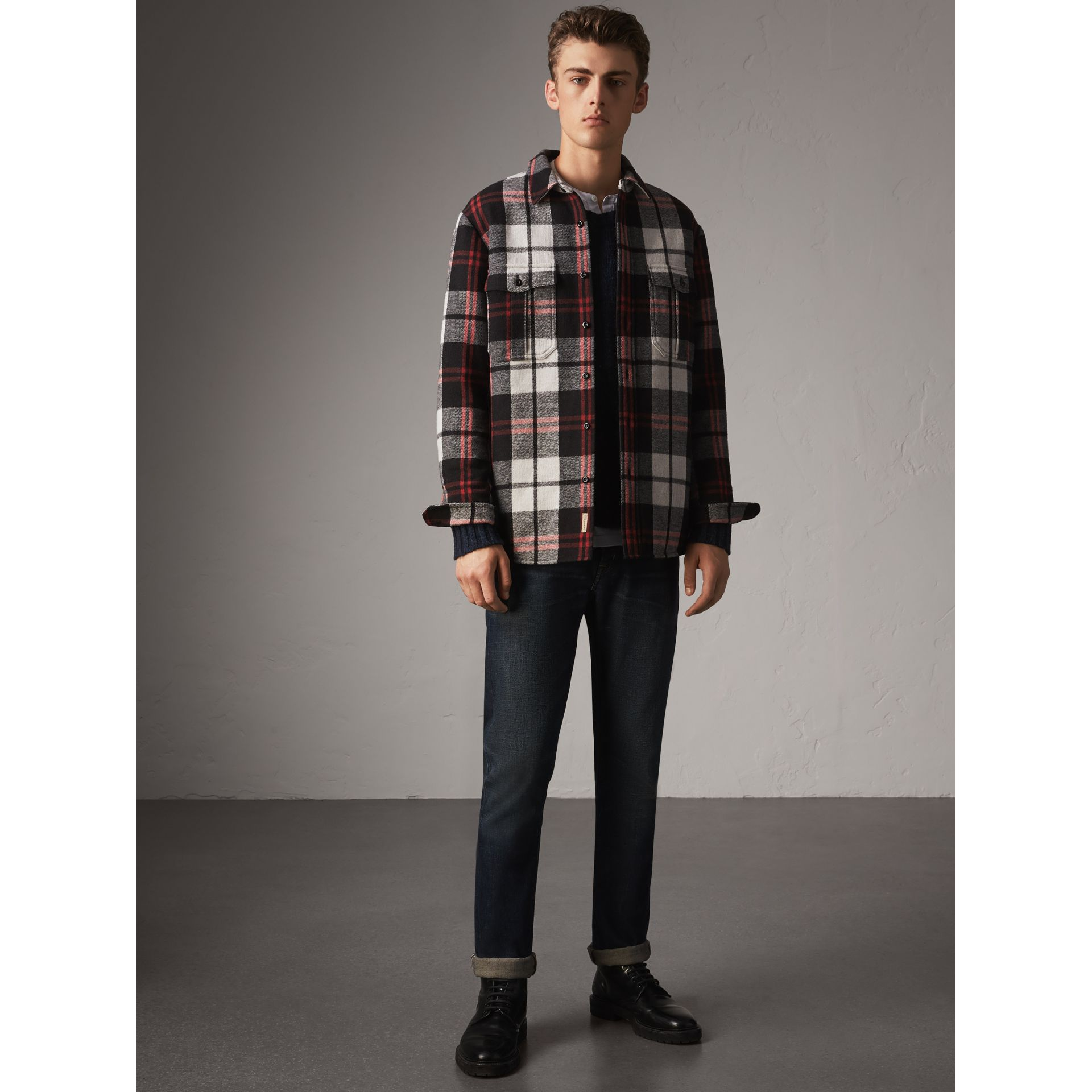 Quilt-lined Check Wool Cotton Blend Flannel Shirt in Black - Men | Burberry - gallery image 1