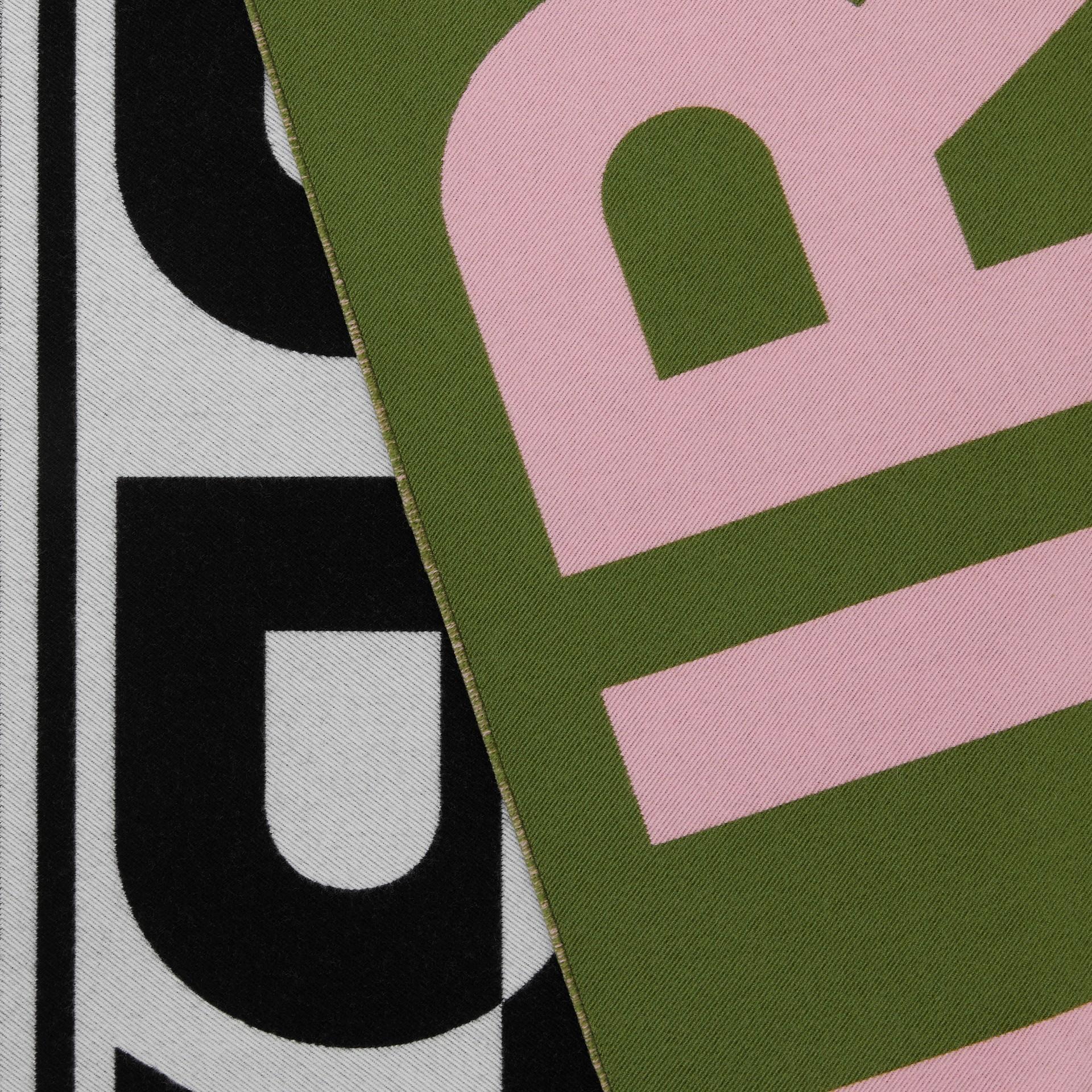 Logo Wool Silk Jacquard Scarf in Cedar Green | Burberry United Kingdom - gallery image 1