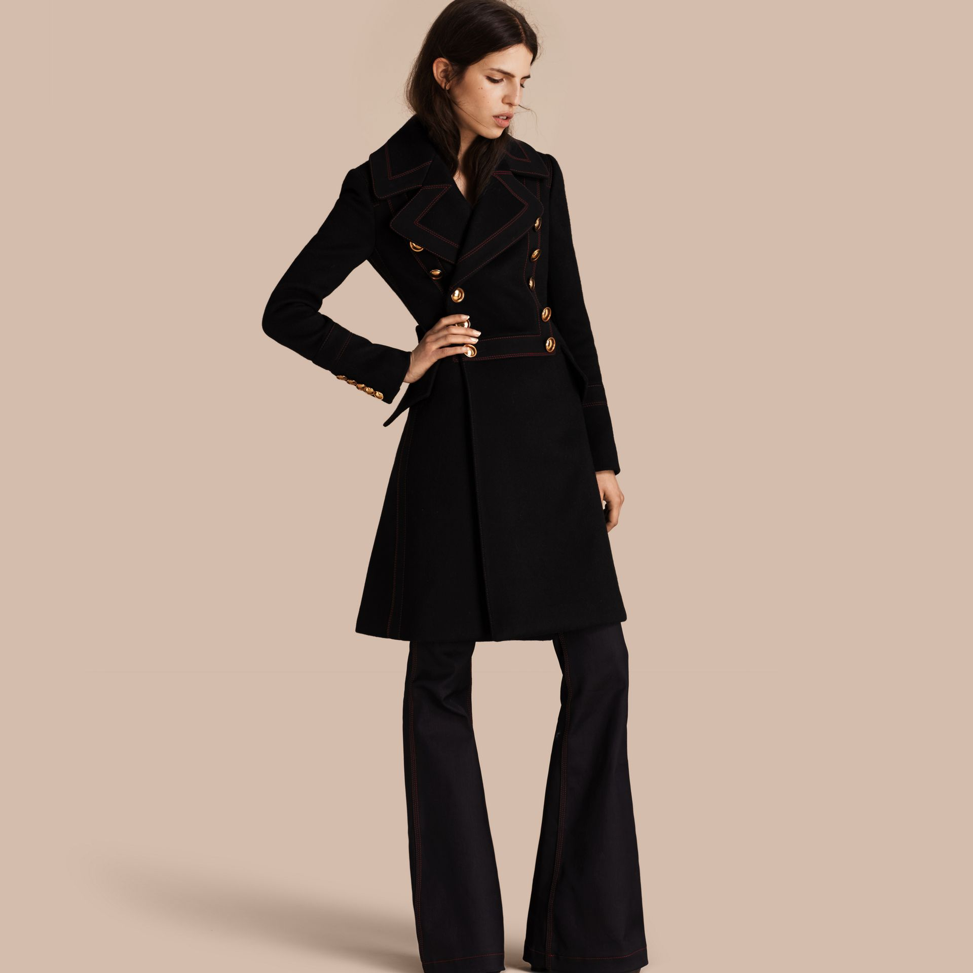 Black Wool Cashmere Military Coat - gallery image 1