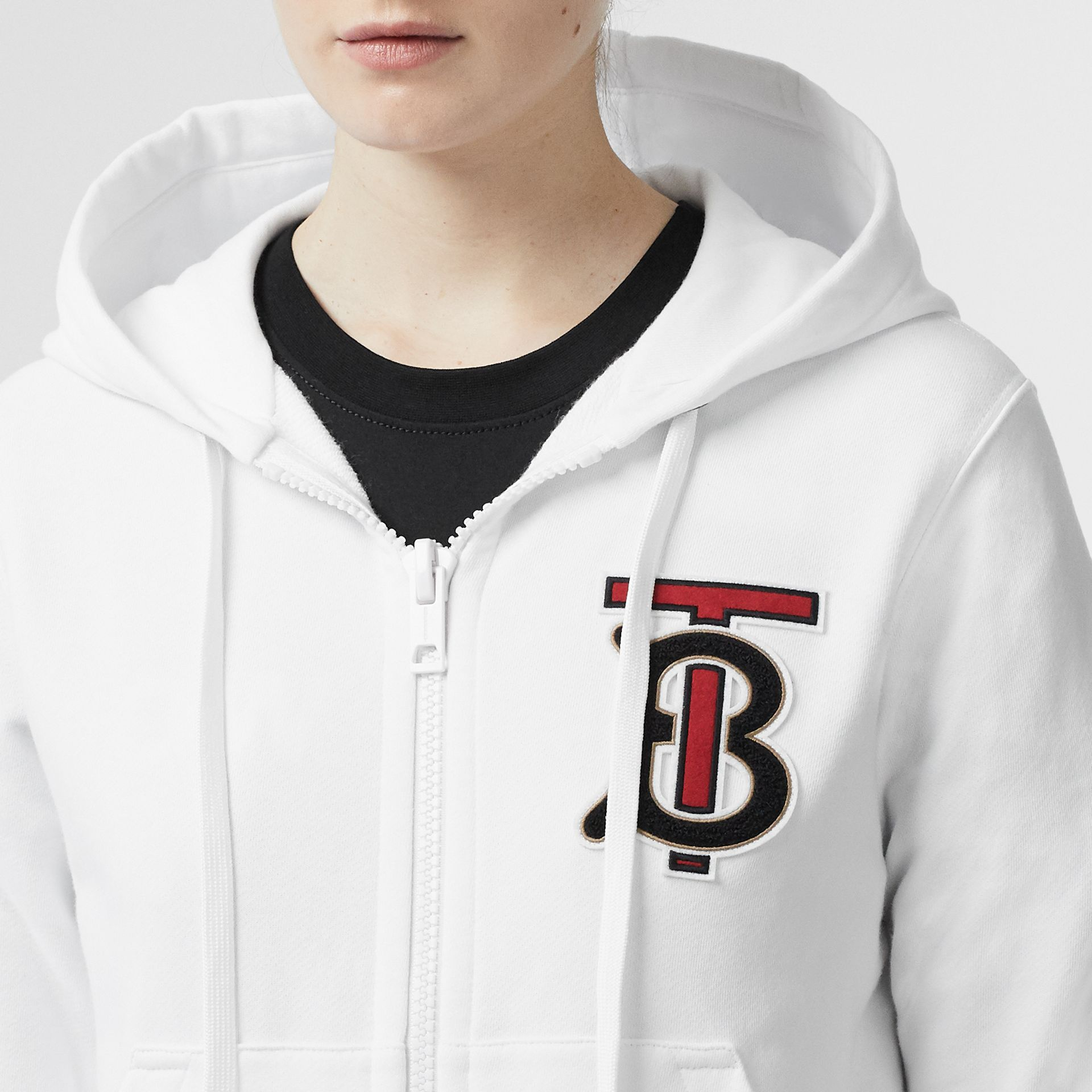 Icon Stripe Detail Monogram Motif Hooded Top in White - Women | Burberry Singapore - gallery image 1