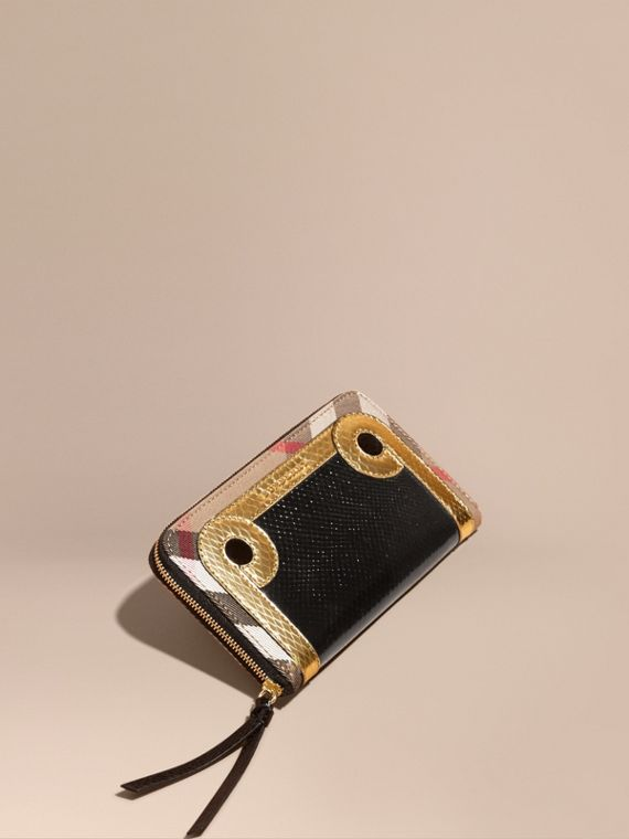 Snakeskin and House Check Ziparound Wallet Black/gold