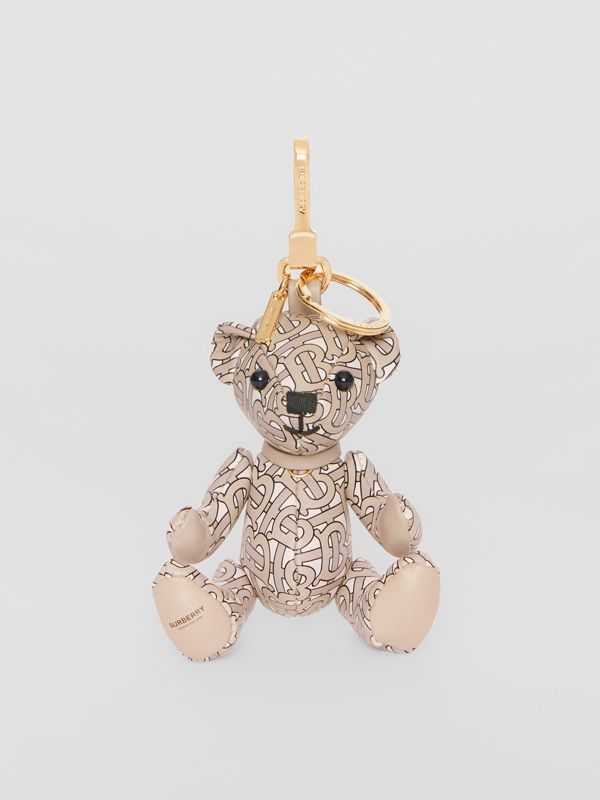 Thomas Bear Charm in Monogram Print Leather in Beige | Burberry - cell image 2