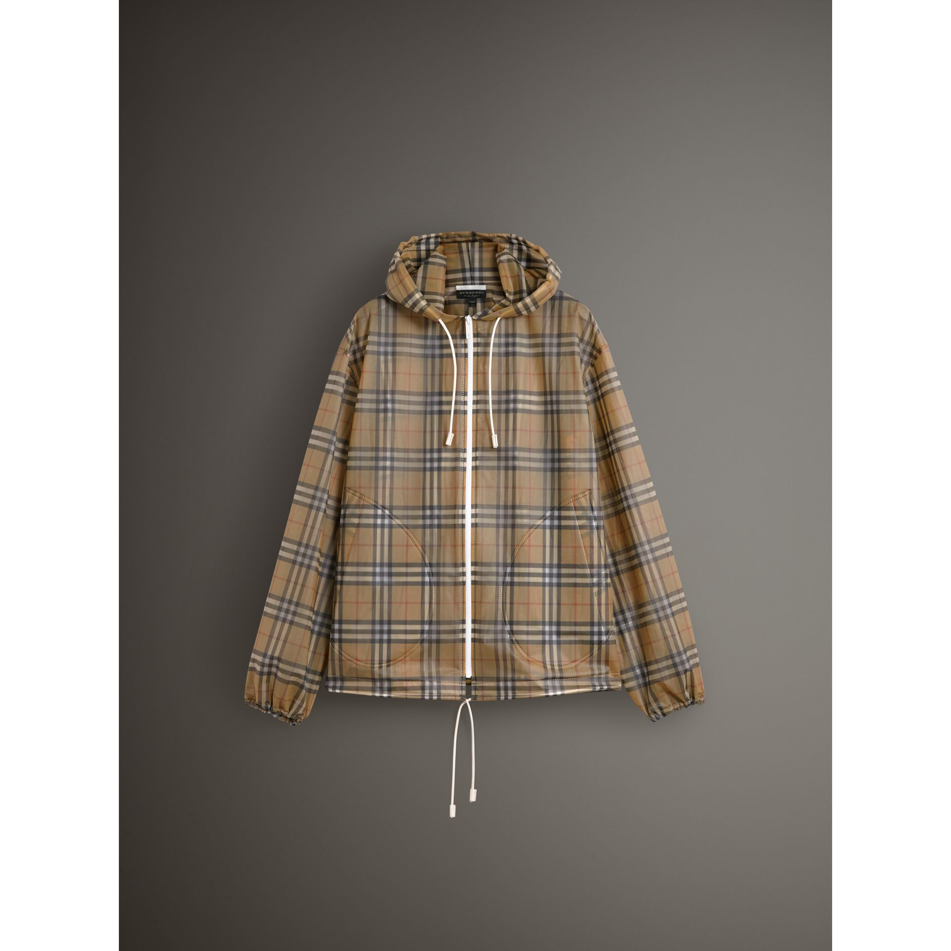 Vintage Check Soft-touch Plastic Cagoule in Antique Yellow - Women | Burberry Canada - gallery image 3