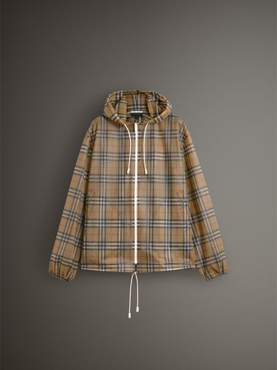 Vintage Check Soft-touch Plastic Cagoule in Antique Yellow - Women | Burberry Hong Kong - cell image 3