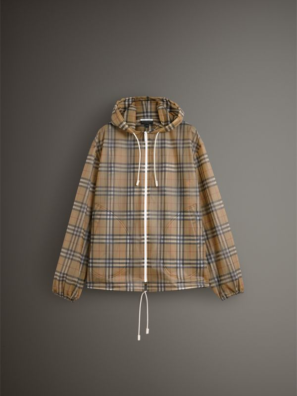 Vintage Check Soft-touch Plastic Cagoule in Antique Yellow - Women | Burberry Australia - cell image 3