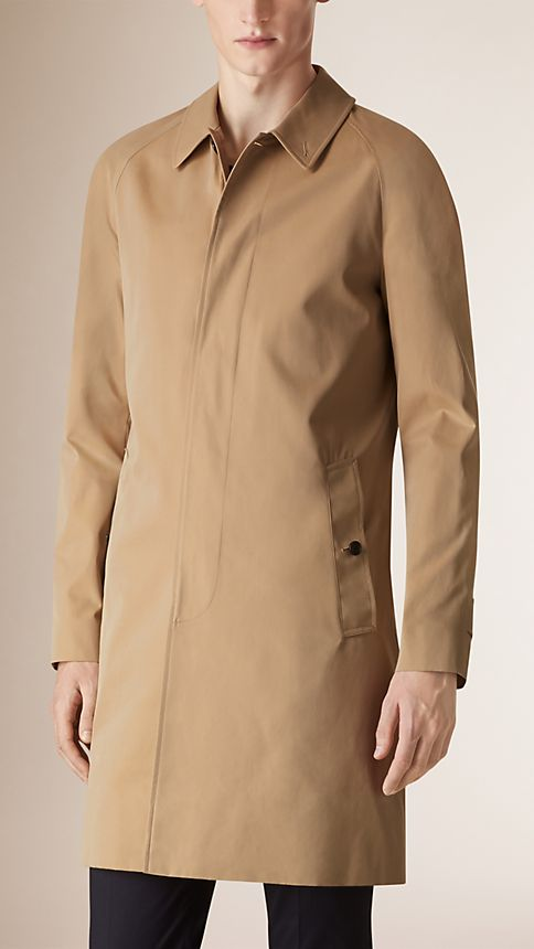 Honey Long Cotton Gabardine Car Coat Honey - Image 2