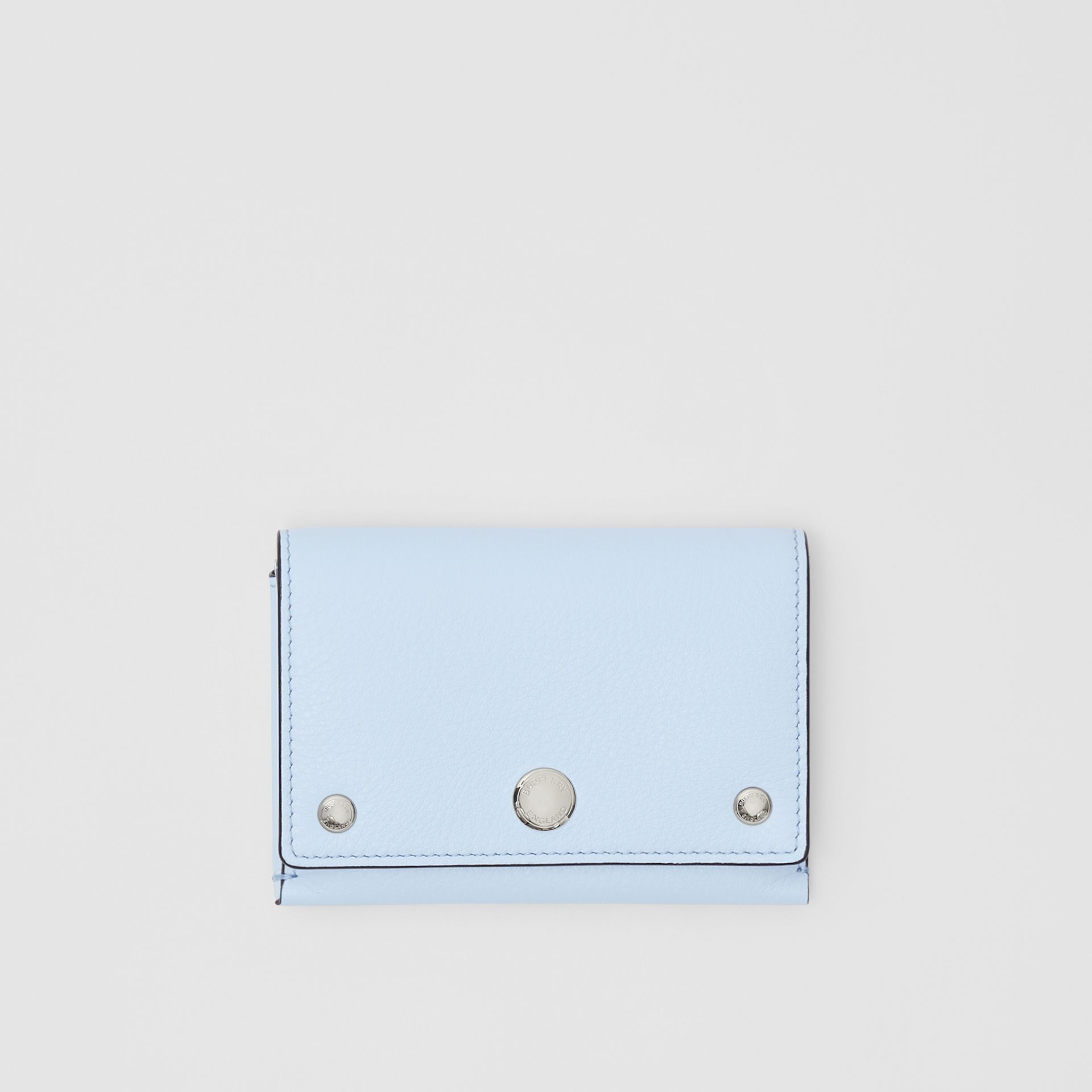 Triple Stud Leather Folding Wallet in Pale Blue - Women | Burberry - gallery image 0