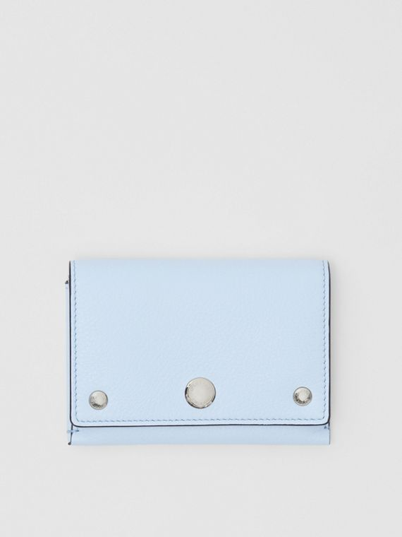 Triple Stud Leather Folding Wallet in Pale Blue