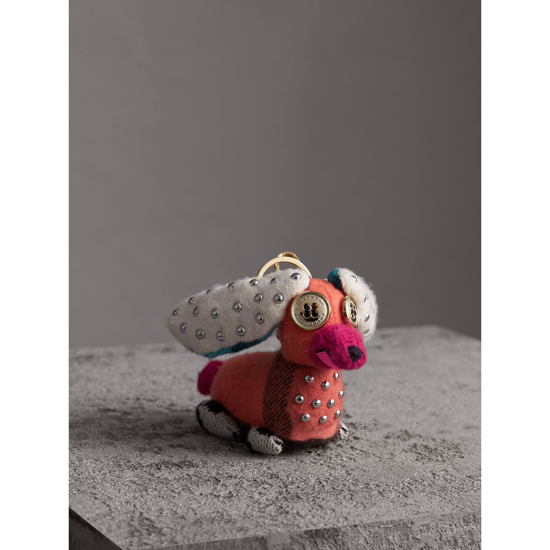 Gareth The Spaniel Knitted Charm in Coral Multicolour | Burberry - gallery image 0