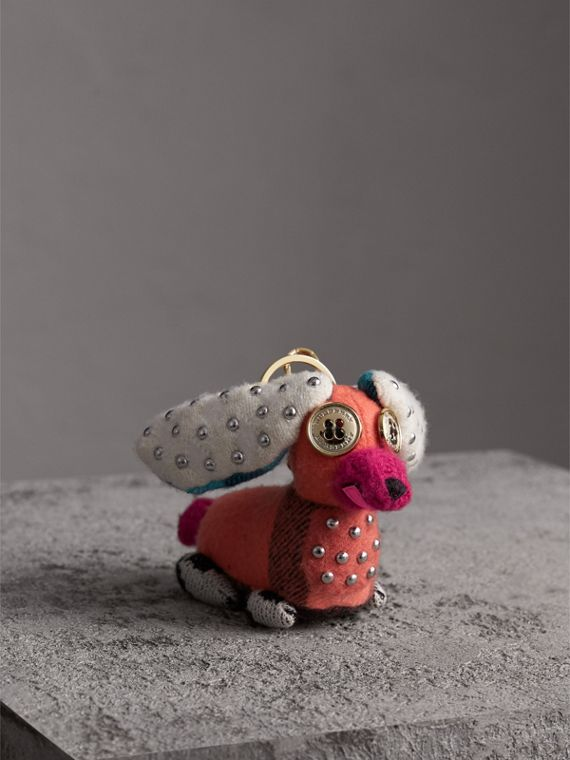 Gareth The Spaniel Knitted Charm in Coral Multicolour