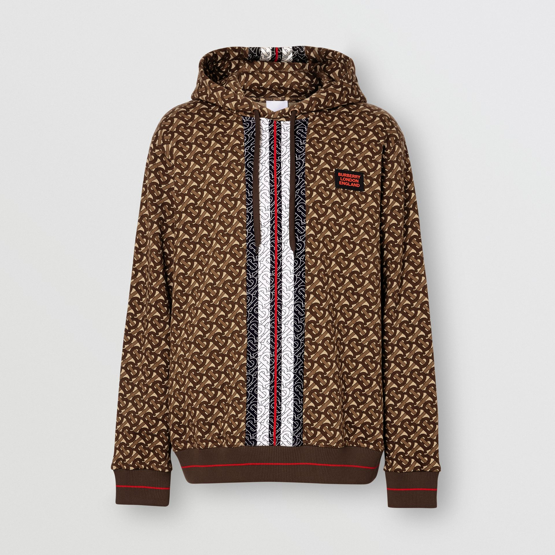 Monogram Stripe Print Cotton Hoodie in Bridle Brown - Men | Burberry Australia - gallery image 3