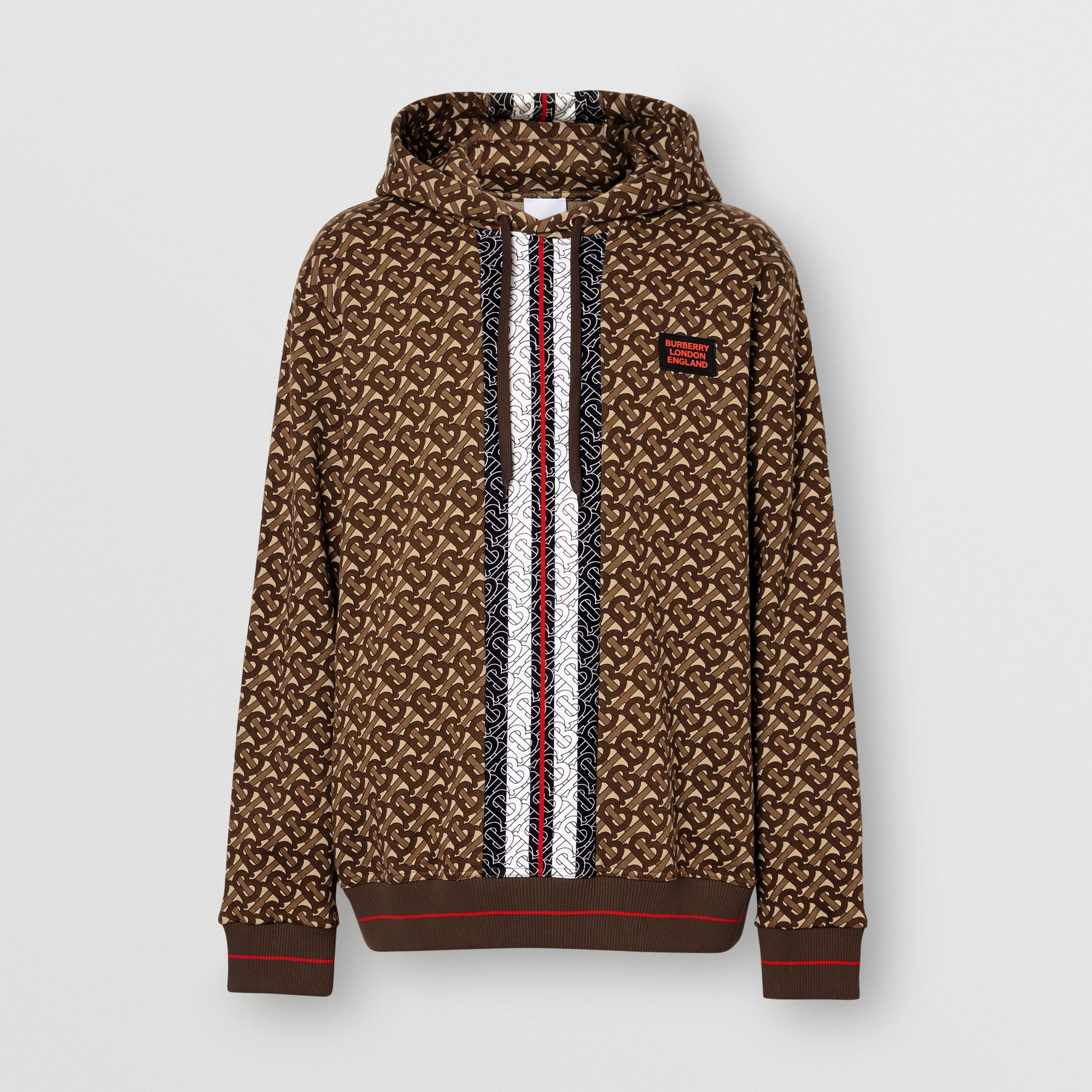Monogram Stripe Print Cotton Hoodie in Bridle Brown - Men | Burberry - 4