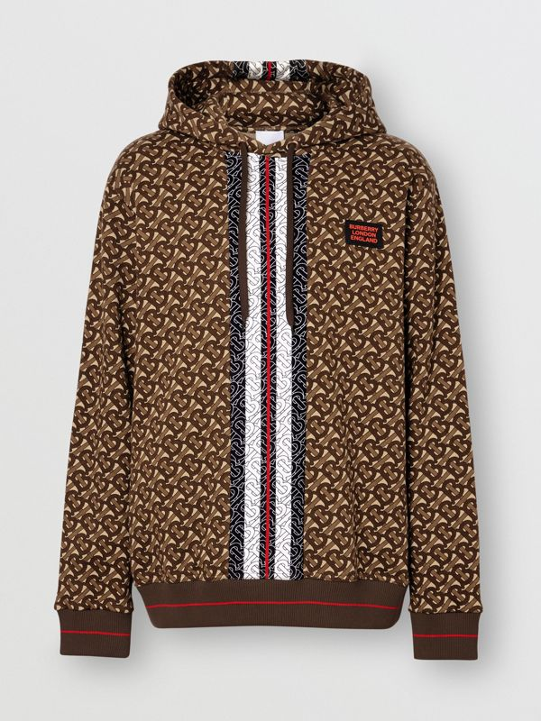 Monogram Stripe Print Cotton Hoodie in Bridle Brown - Men | Burberry Australia - cell image 3