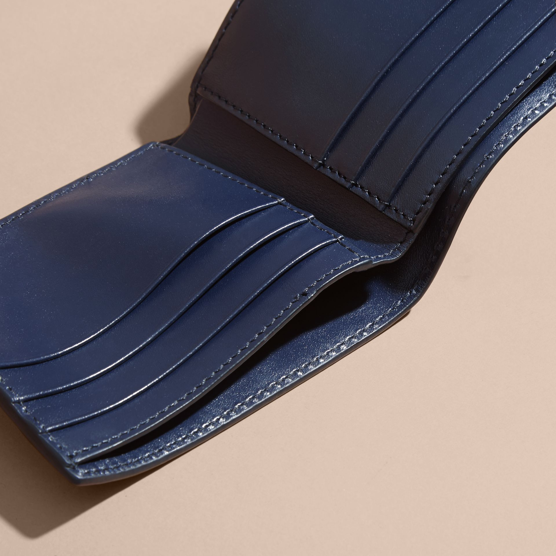 London Leather Bifold Wallet in Dark Navy | Burberry - gallery image 4