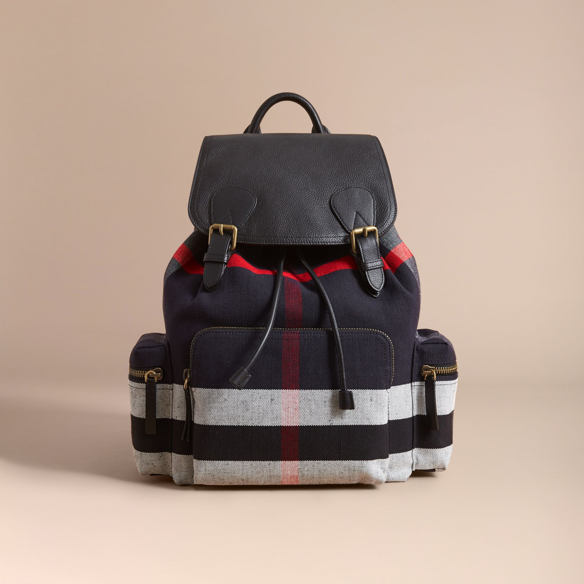 The Large Rucksack in Canvas Check and Leather in Black - gallery image 7