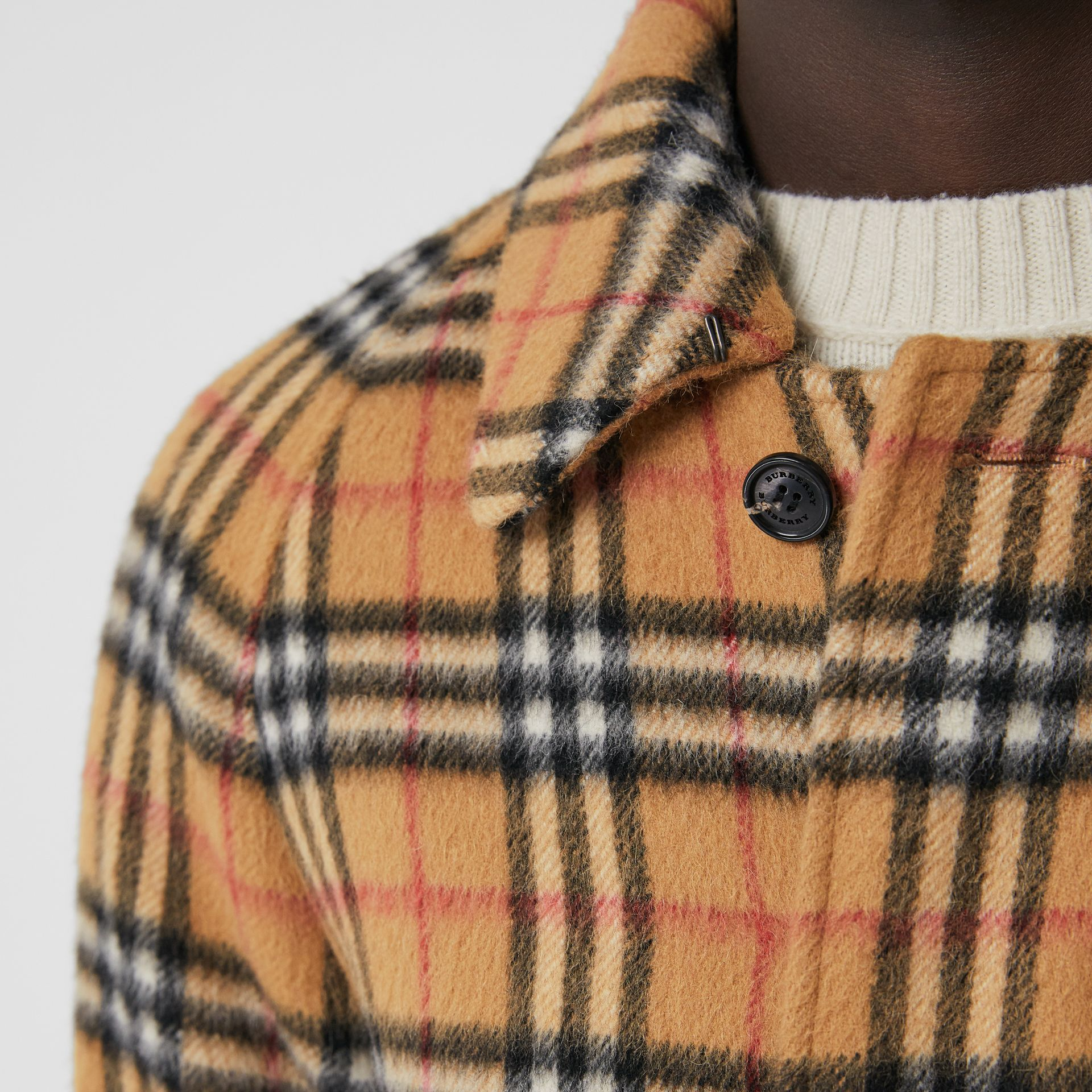 Vintage Check Alpaca Wool Car Coat in Antique Yellow - Men | Burberry - gallery image 5