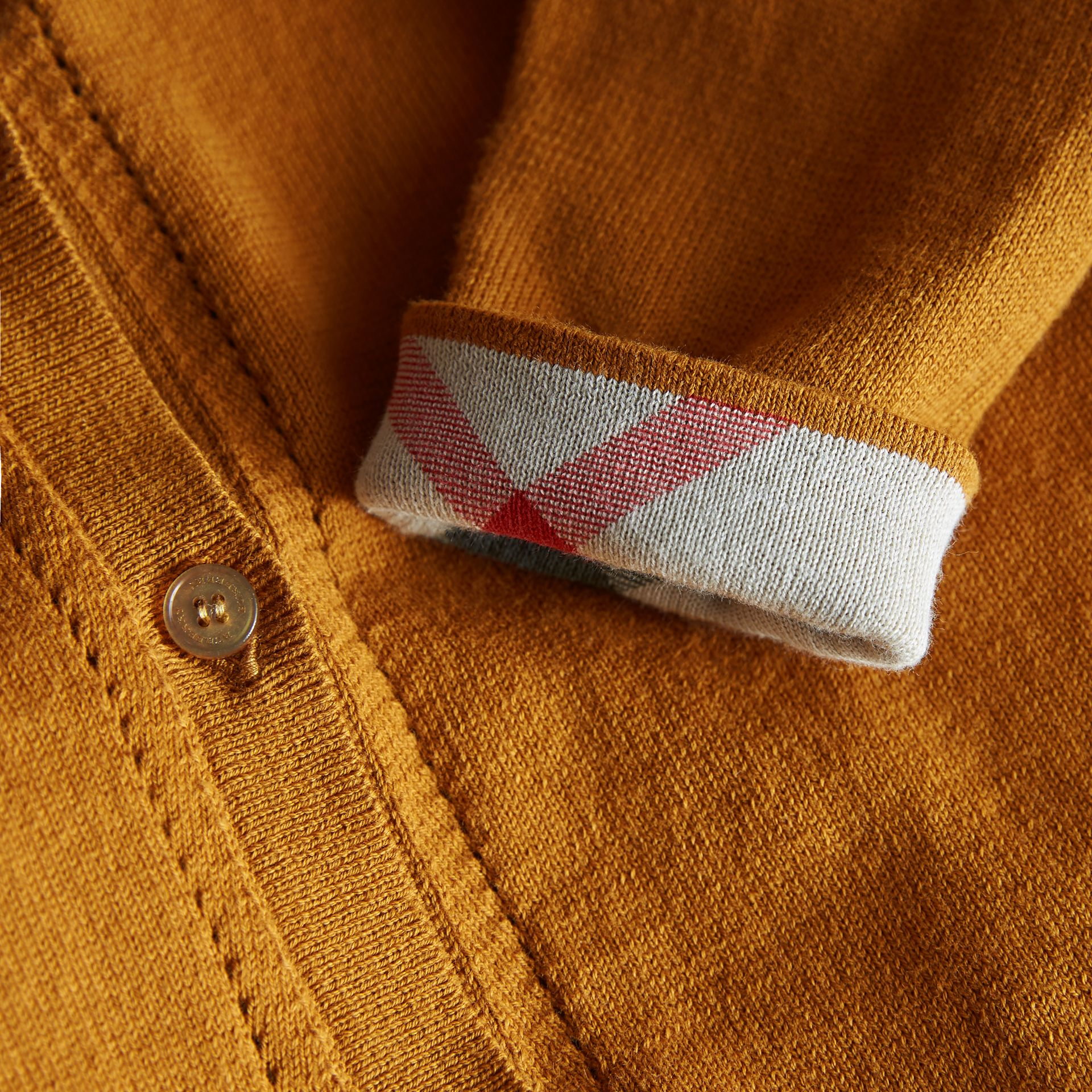 Check Cuff Cotton Knit Cardigan in Ochre Yellow - Girl | Burberry - gallery image 2
