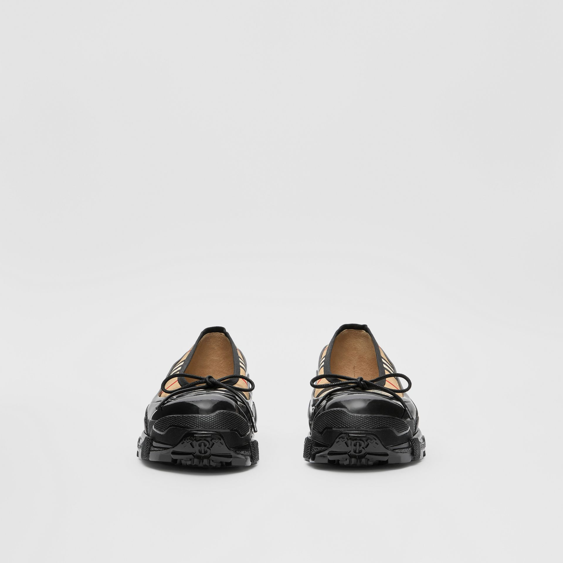 Overshoe Detail Vintage Check Cotton Flats in Archive Beige - Women | Burberry United Kingdom - gallery image 2