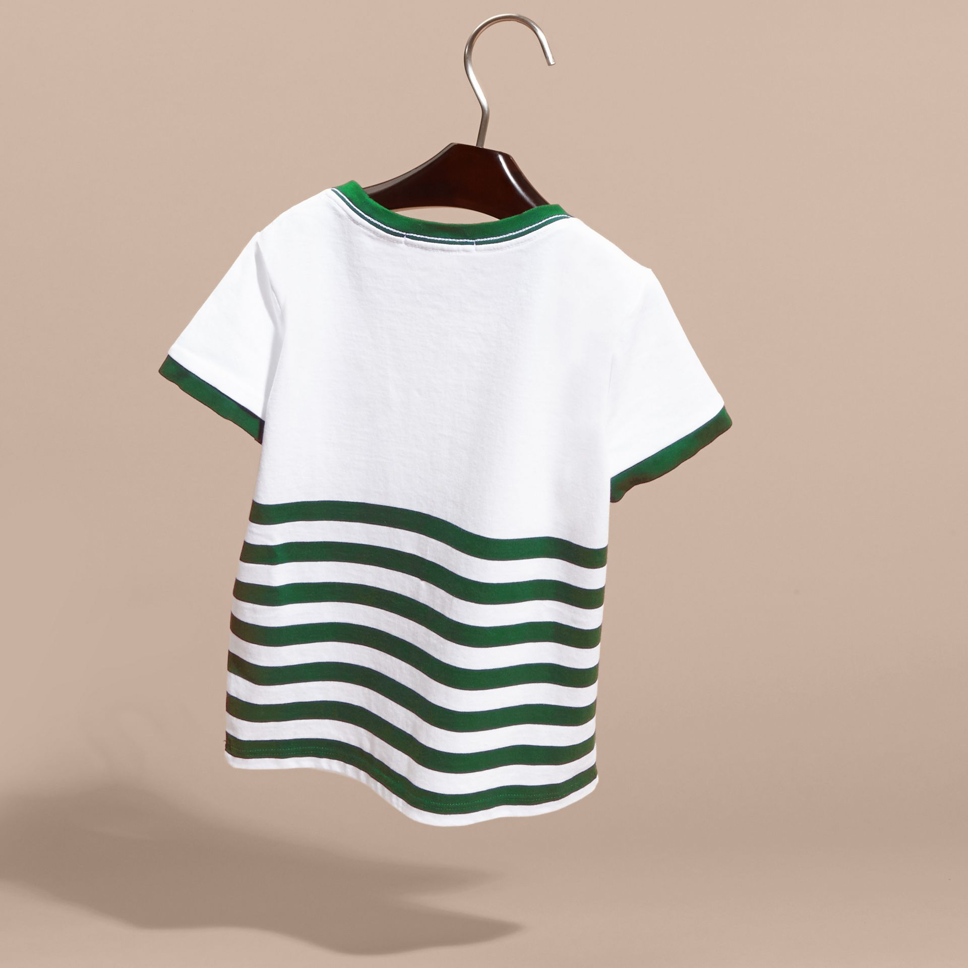 Racing green Striped Cotton T-shirt with Appliqués - gallery image 4