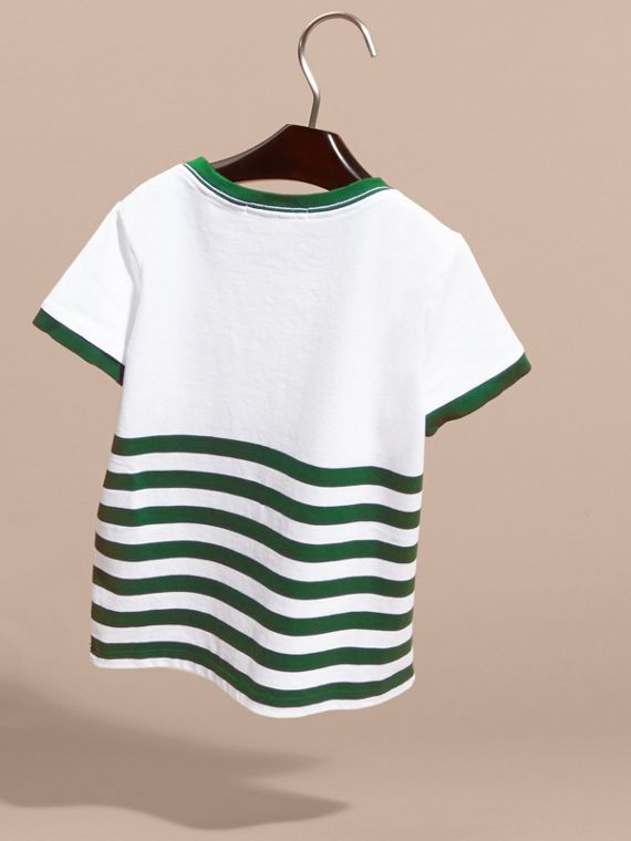 Racing green Striped Cotton T-shirt with Appliqués - cell image 3