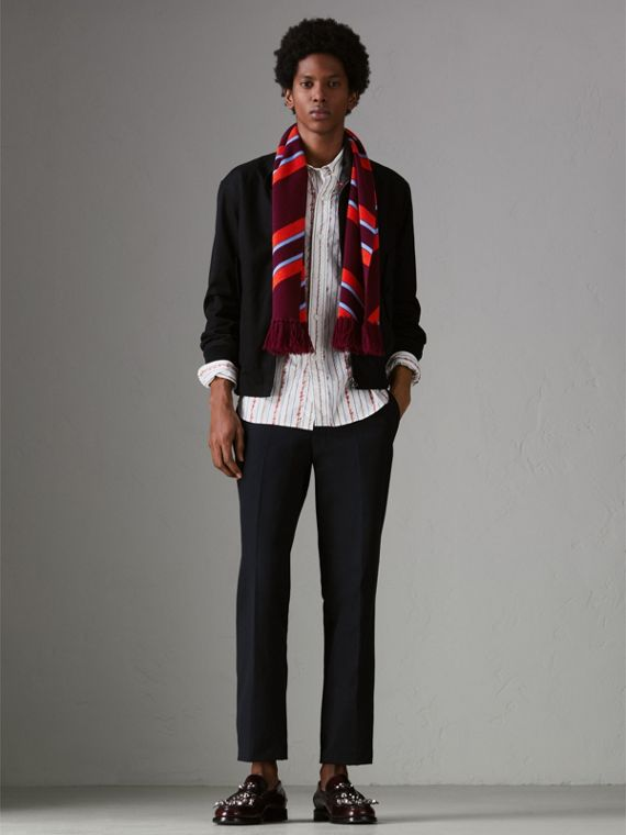 Tri-tone Striped Wool Cashmere Scarf in Burgundy | Burberry United Kingdom - cell image 3