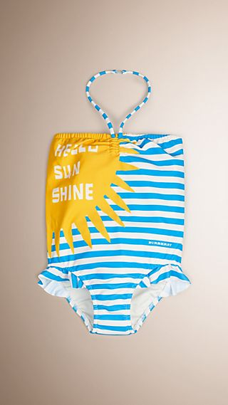 Hello Sunshine Graphic One-piece Halter-neck Swimsuit
