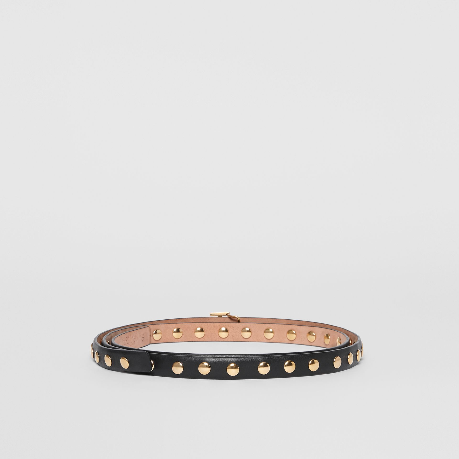 Monogram Motif Studded Leather Belt in Black/light Gold - Women | Burberry Australia - gallery image 4