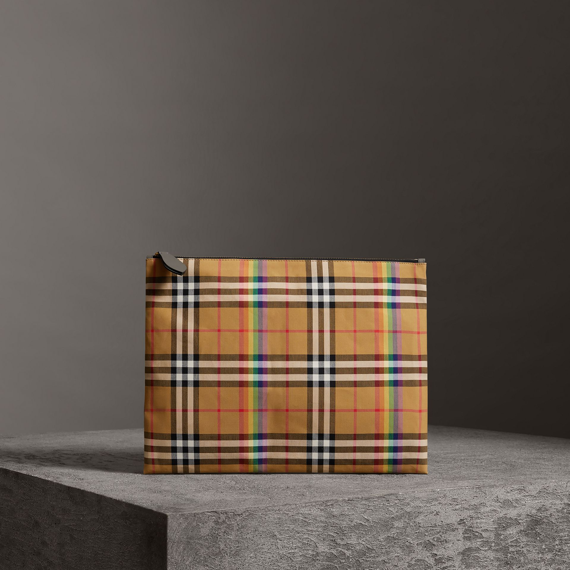 Large Rainbow Vintage Check Pouch in Dark Grey | Burberry Canada - gallery image 0