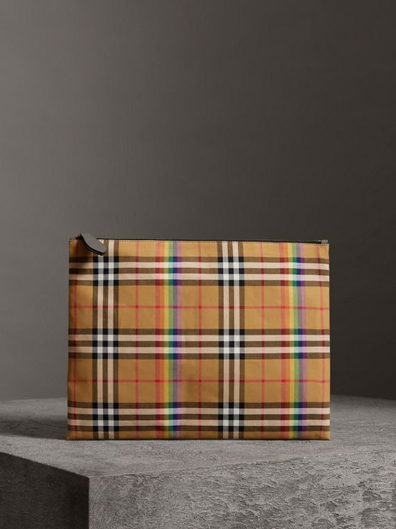 Large Rainbow Vintage Check Pouch in Dark Grey