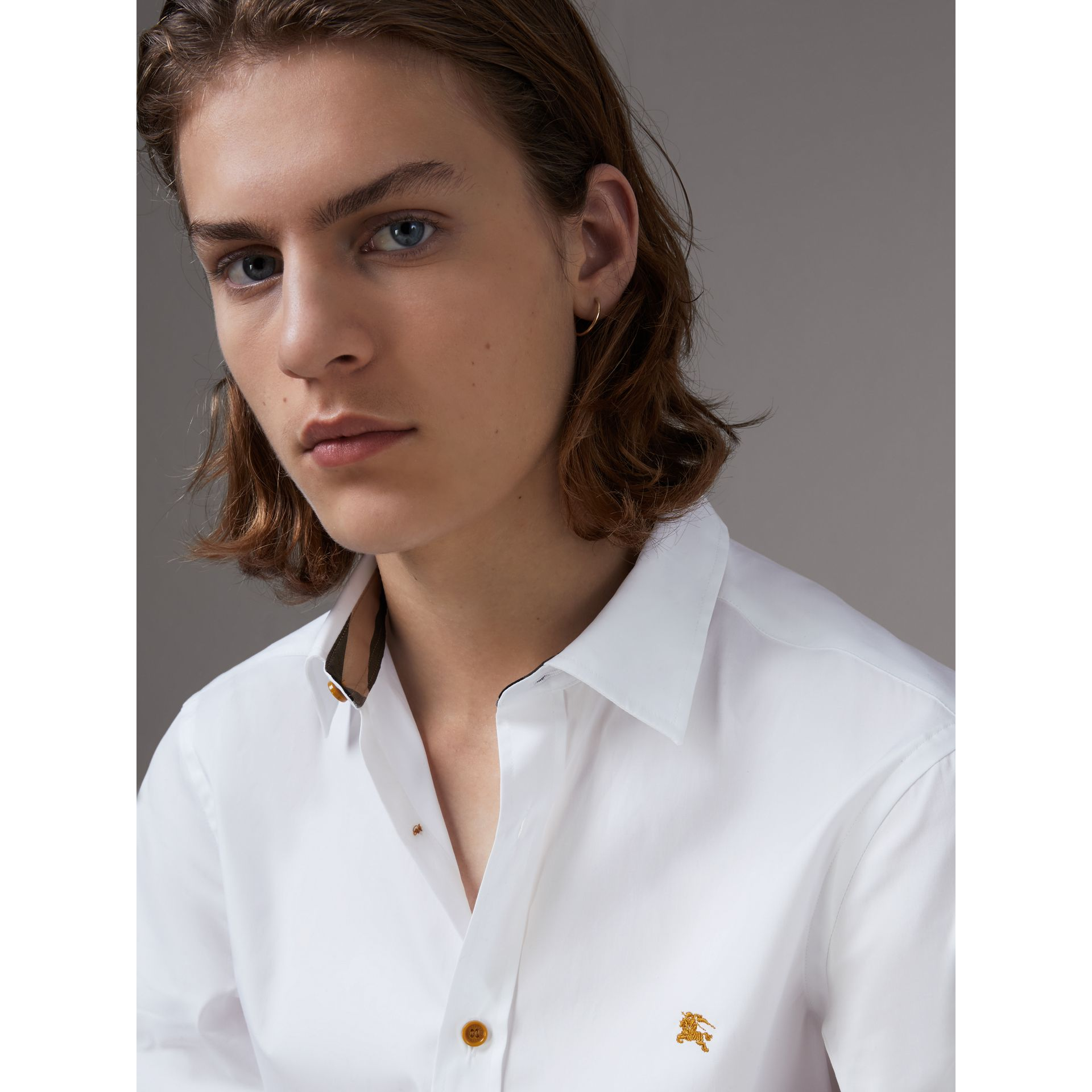 Resin Button Cotton Poplin Shirt in White - Men | Burberry - gallery image 1