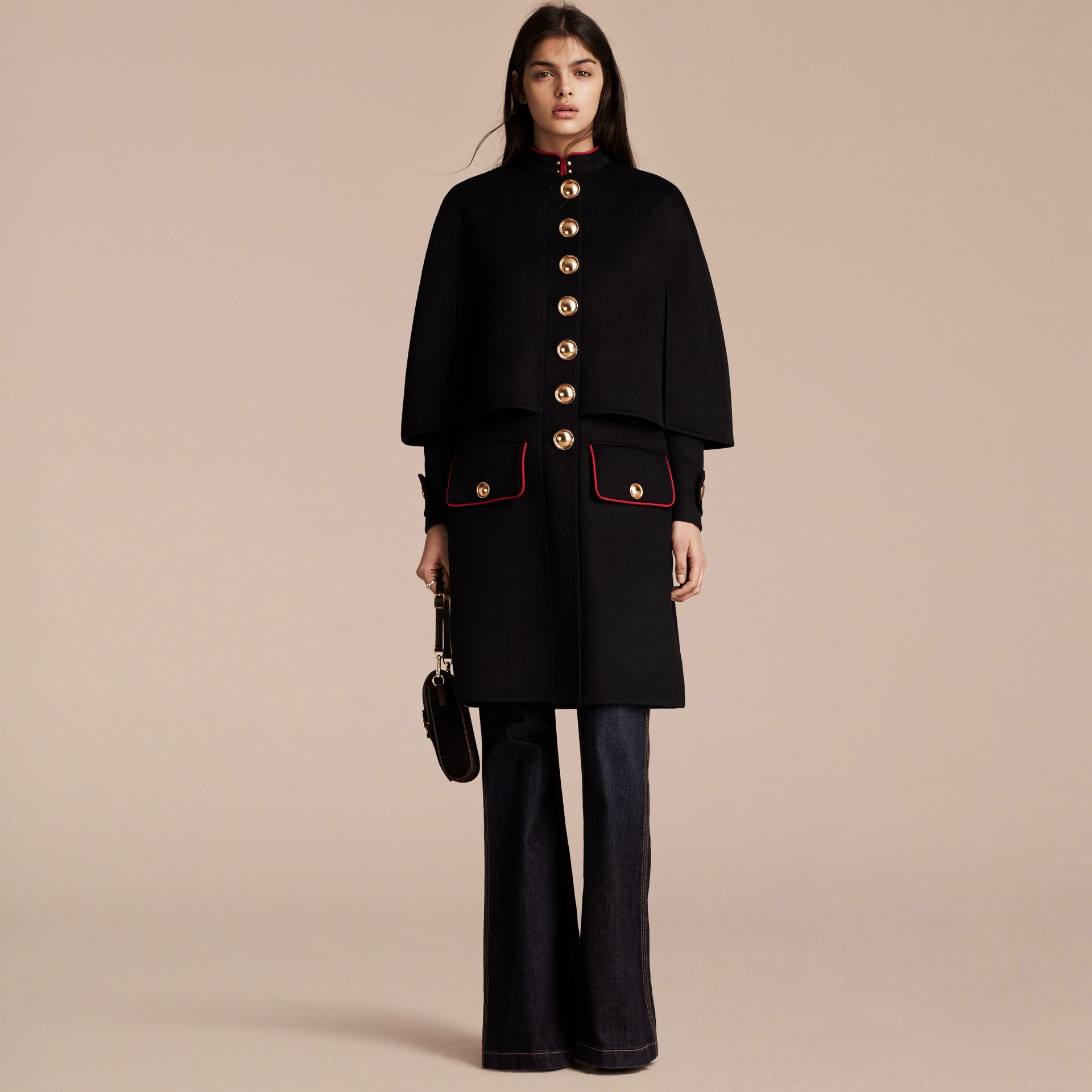 Black Military Detail Wool Cashmere Cape Coat - gallery image 7