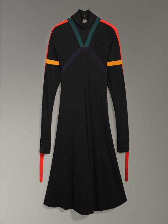 Colour Block Detail Jersey Turtleneck Dress in Black - Women | Burberry United States - cell image 3