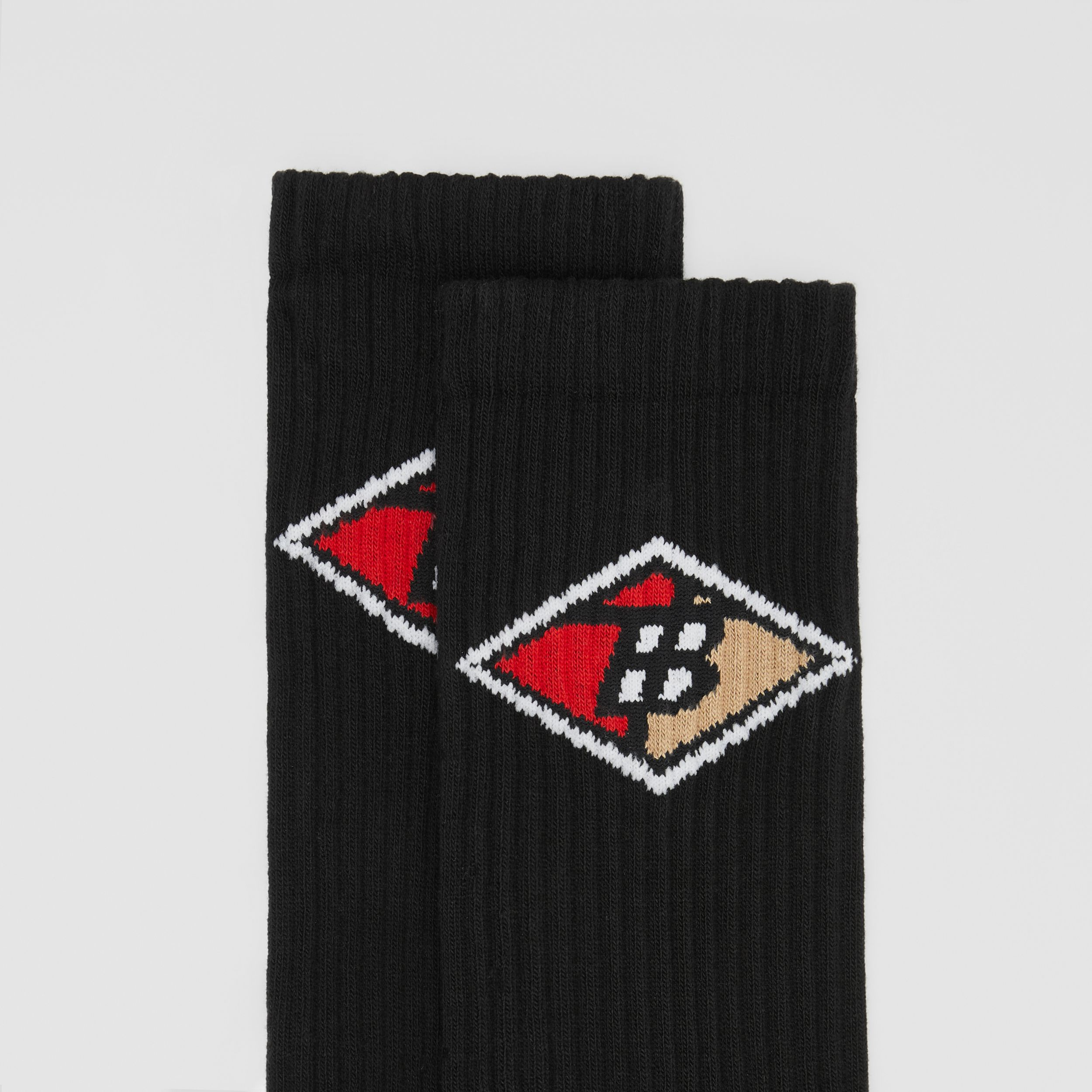 Logo Graphic Intarsia Cotton Blend Socks in Black | Burberry - 2
