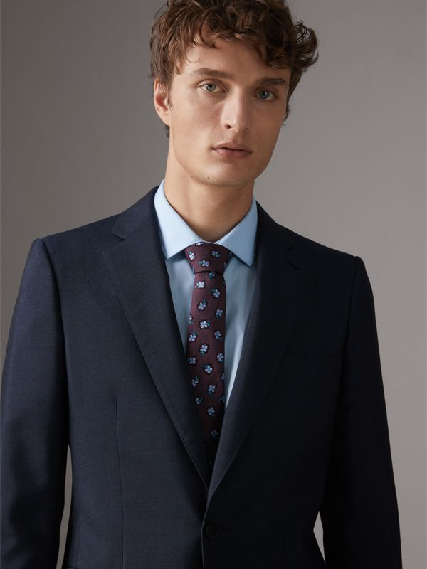 Slim Cut Floral Silk Brocade Tie in Purple Grape - Men | Burberry - cell image 2