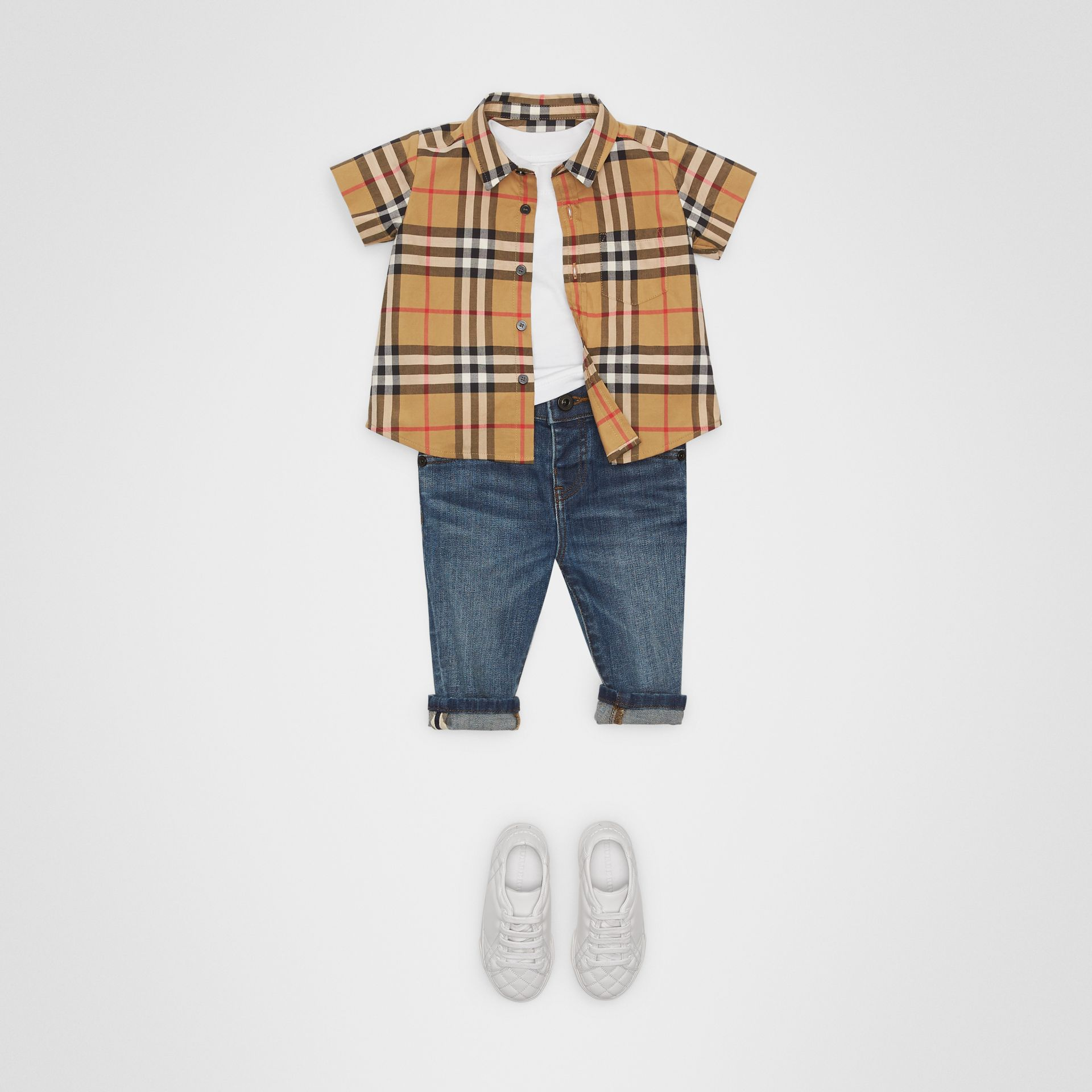 Short-sleeve Vintage Check Cotton Shirt in Antique Yellow - Children | Burberry United Kingdom - gallery image 2