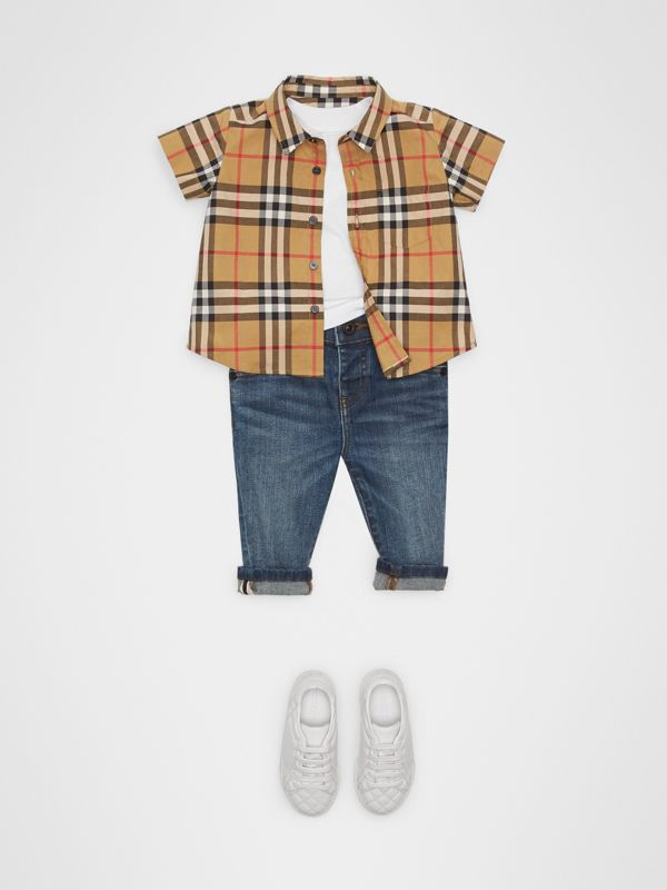 Short-sleeve Vintage Check Cotton Shirt in Antique Yellow - Children | Burberry United Kingdom - cell image 2