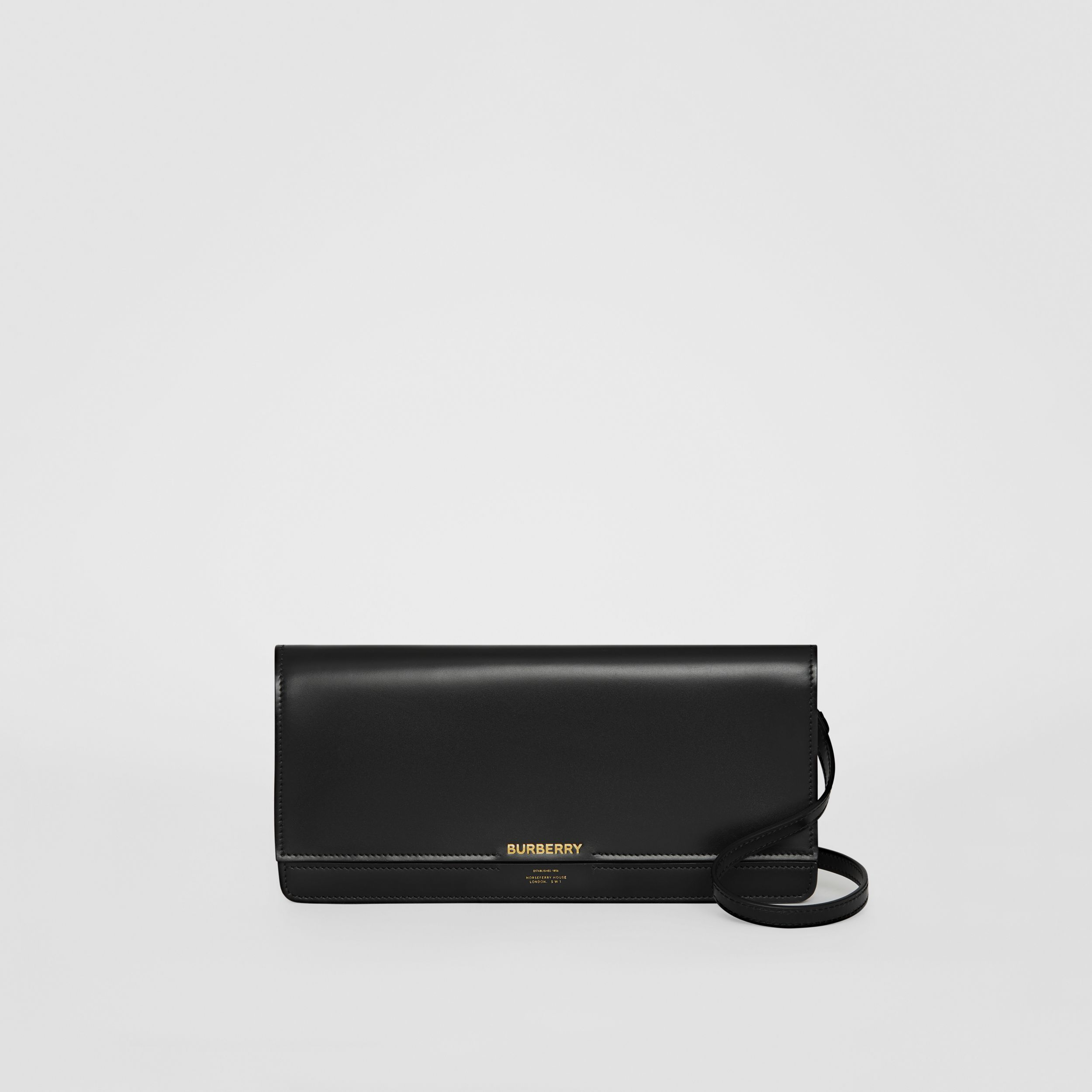 Horseferry Print Leather Wallet with Detachable Strap in Black - Women | Burberry - 1
